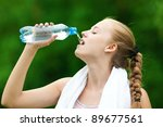 young woman drinking water... | Shutterstock . vector #89677561