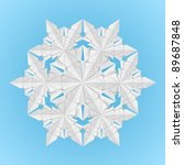 Raster version. White paper snowflake on a blue background illustration designer - stock photo