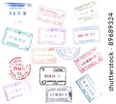 colorful passport stamps... | Shutterstock . vector #89689324