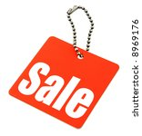 Sale tag isolated on pure white background, there is no copyright infringement - stock photo