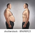fat man in front of a fitter one | Shutterstock . vector #89698915