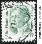 Small photo of UNITED STATES - CIRCA 1995: stamp printed by United states, shows Alice Hamilton, circa 1995