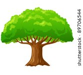 cartoon big green tree isolated ...