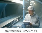 worker controls sugar on... | Shutterstock . vector #89707444