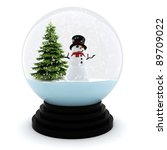 3d Chrystmas Dome  On White...
