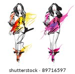 hand drawn fashion models.... | Shutterstock .eps vector #89716597