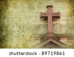 old stone cross on the wall in... | Shutterstock . vector #89719861