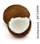 Fresh coconut on a white background - stock photo