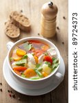 chicken soup with vegetables | Shutterstock . vector #89724373