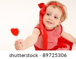little girl in a red dress with ... | Shutterstock . vector #89725306