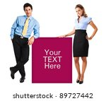 Two people holding a blank board - stock photo