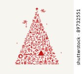 christmas tree sketch for your... | Shutterstock .eps vector #89732551