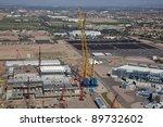 Giant Crane on construction site - stock photo