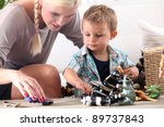 mother playing with her little... | Shutterstock . vector #89737843