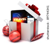 Holiday present with electronic gifts, computer tablet and smart phone - stock photo