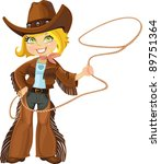 blond cowgirl with lasso | Shutterstock .eps vector #89751364