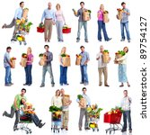 group of shopping people with... | Shutterstock . vector #89754127