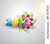 vector funky colorful 2012... | Shutterstock .eps vector #89757925