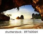 Outside Cave To Beach At Sunset ...