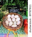 Basket Of Organic Farm Eggs ...