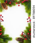 christmas frame with fir and... | Shutterstock . vector #89788054