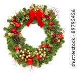 christmas wreath with red... | Shutterstock . vector #89793436