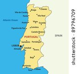 vector map of the portugal. | Shutterstock .eps vector #89796709