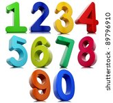 3d numbers set isolated on... | Shutterstock . vector #89796910