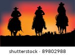3 cowboys on sunset  vector | Shutterstock .eps vector #89802988