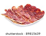 a pile of different spanish embutido, jamon, chorizo and lomo embuchado - stock photo