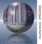 Earth with a bar code printed on it and a scanner going over it / Global shopping - stock photo