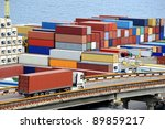 truck transports container to a ... | Shutterstock . vector #89859217