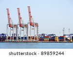 port cranes and container... | Shutterstock . vector #89859244