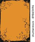 grunge orange floral frame with ... | Shutterstock . vector #89865496