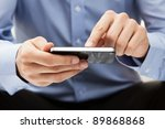 young adult using mobile smart... | Shutterstock . vector #89868868