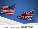 English And American Flag In...
