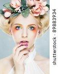beautiful girl blonde... | Shutterstock . vector #89883934