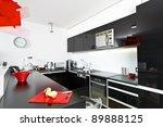 moder black and white kitchen... | Shutterstock . vector #89888125
