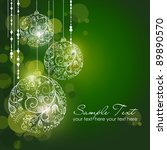 green christmas background with ... | Shutterstock .eps vector #89890570