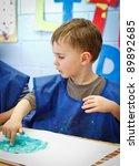 boy in preschool | Shutterstock . vector #89892685