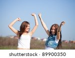 two happy women together... | Shutterstock . vector #89900350