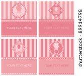 set of 4 cute pink baby...   Shutterstock .eps vector #89914798
