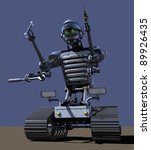 Tracked robot against blue-sky background - stock photo