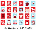 Advent calendar, retro christmas icons isolated on white