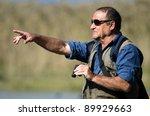 a senior hiker and bird watcher ...   Shutterstock . vector #89929663