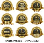 vector set of 100  guarantee... | Shutterstock .eps vector #89930332