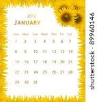 2012 year calendar  january... | Shutterstock . vector #89960146