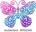 Stock vector ornate butterfly swirly silhouette tattoo vector illustration design element 89962348
