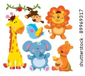 Stock vector cute animals collections 89969317