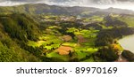 Aerial view to the Furnas city and valley, San Miguel island, Azores - stock photo